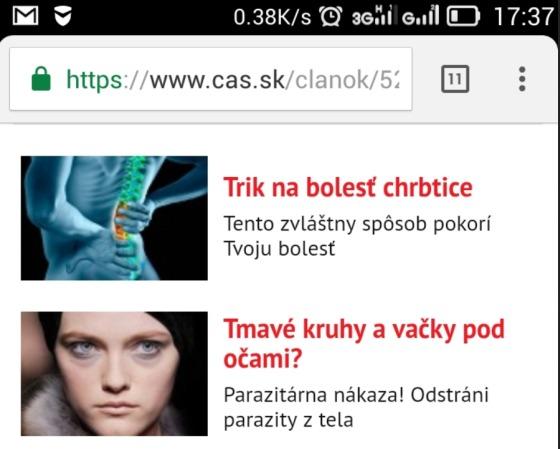 Vačky pod očami, podvodná reklama na cas.sk