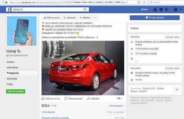 Podvodnú falošná súťaž na Facebook o auto MaZDA 3, VYHRAJ TO