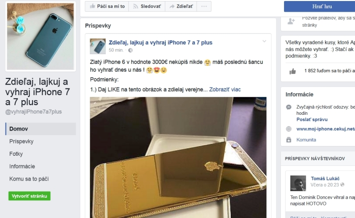 Zlatý iPhone a falošná súťaž