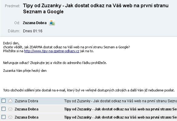 Zuzanka Dobrá odborníčka na SEO a jej spam